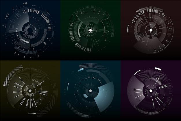 Set van futuristische interface-elementen. technologie cirkels. digitale futuristische gebruikersinterfaces. Premium Vector