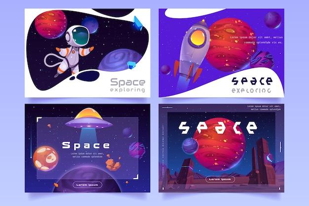 Set van futuristische websjabloon met buitenaardse planeten, raket, ufo-ruimteschip en astronaut Gratis Vector