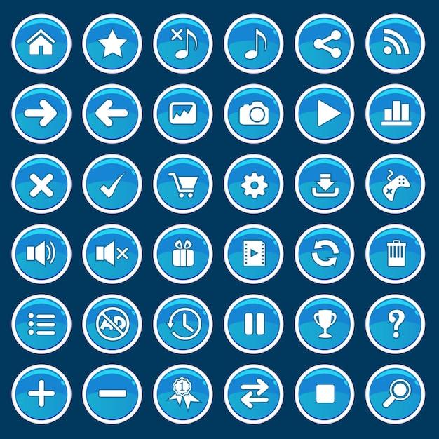 Set van game cartoon knoppen blauwe glanzende glanzende stijl. Premium Vector
