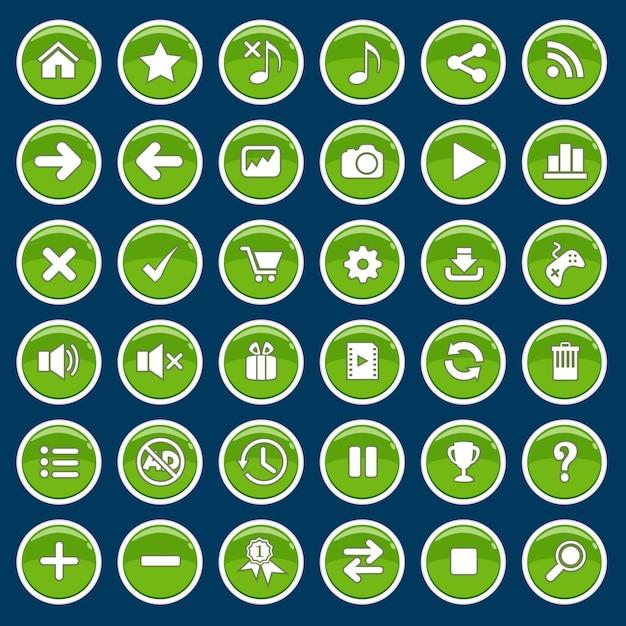Set van game cartoon knoppen groen glanzend glanzend stijl. Premium Vector