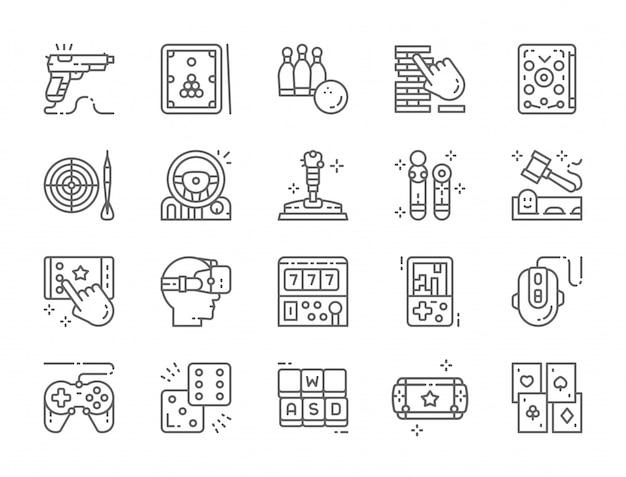 Set van game line icons Premium Vector