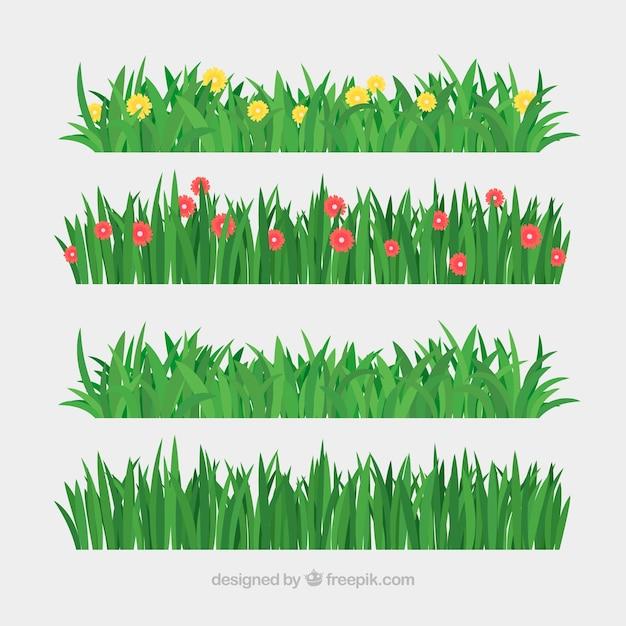 Set van gazon en bloemen Gratis Vector