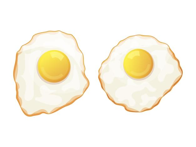 Set van gebakken eieren op een witte achtergrond. lekker ontbijt. geïsoleerde object op een witte achtergrond. cartoon stijl. object voor verpakking, advertenties, menu. vector illustratie. Premium Vector