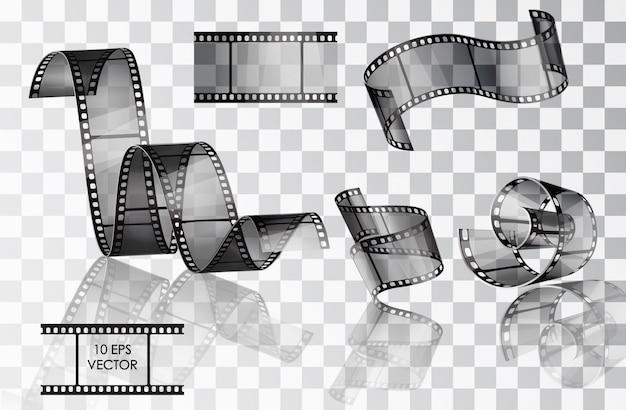 Set van gebogen fotografische film. film. . verdraaide film. glijden. filmscènes. een filmrolletje. Premium Vector