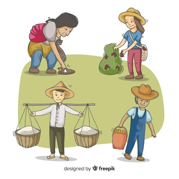 Set van geïllustreerde boeren werken Gratis Vector