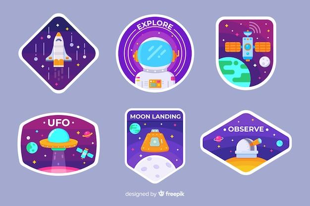 Set van geïllustreerde ruimtestickers Gratis Vector