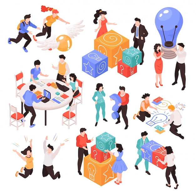 Set van geïsoleerde beelden met isometrische teamwerk brainstormen creatieve processituaties met menselijke karakters en verschillende items vector illustratie Gratis Vector