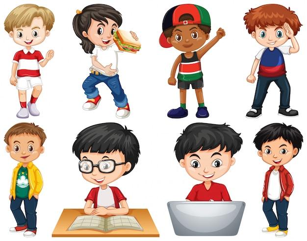 Set van geïsoleerde kinderen die verschillende activiteiten doen Gratis Vector