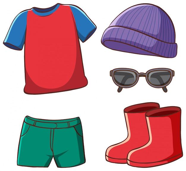 Set van geïsoleerde kleding Gratis Vector