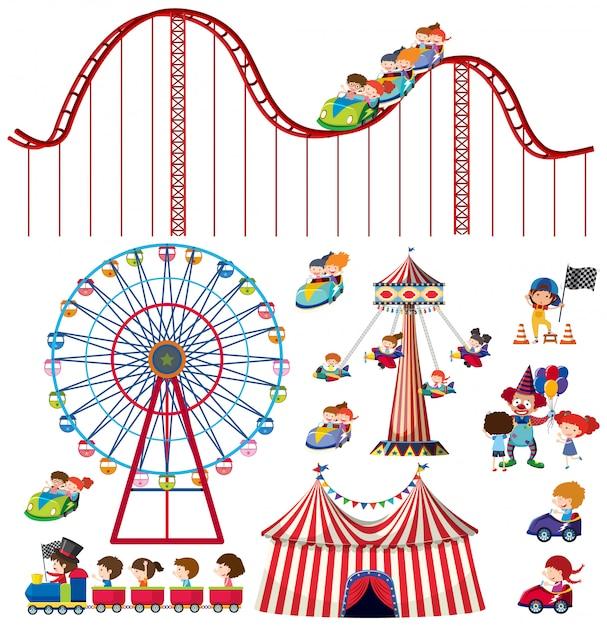 Set van geïsoleerde objecten thema circus Premium Vector