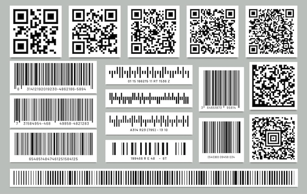 Set van geïsoleerde rechthoek streepjescode en vierkante qr-code. Premium Vector