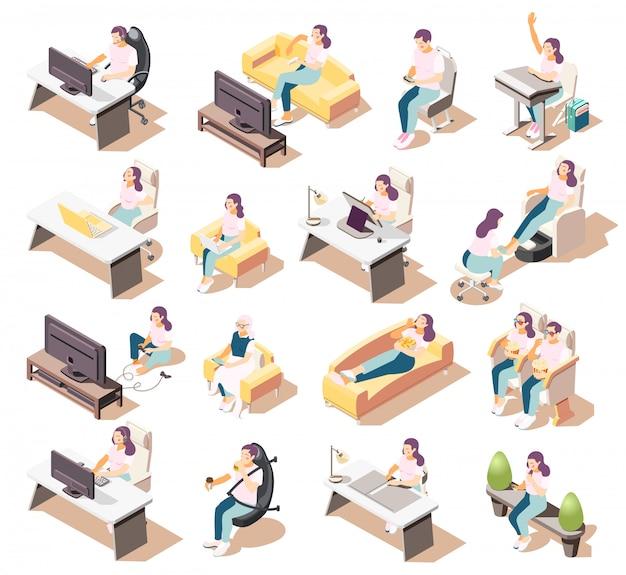 Set van geïsoleerde sedentaire levensstijl isometrische iconen van mensen zitten in verschillende omgevingen met meubelstukken Gratis Vector