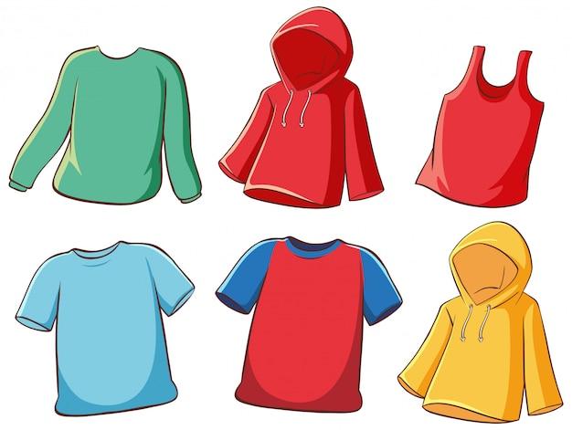 Set van geïsoleerde shirts Gratis Vector
