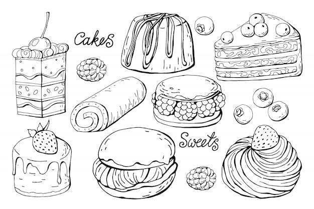 Set van geïsoleerde snoep en gebak Premium Vector