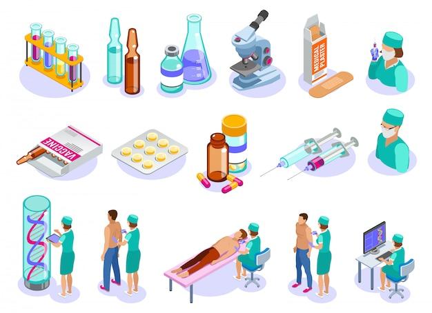 Set van geïsoleerde vaccinatie isometrische iconen met menselijke karakters van medische professionals patiënten en farmaceutische drugs Gratis Vector