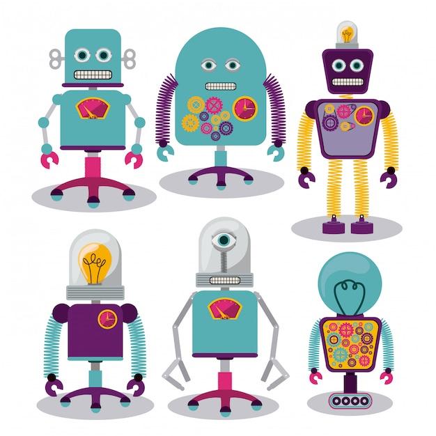 Set van gekke robots Premium Vector