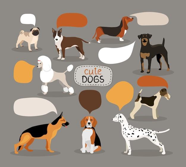 Set van gekleurde vector hondenrassen met lege tekstballonnen met een alsation pug bloodhound rottweiler beagle dalmation poedel fox terrier en pitbull Gratis Vector