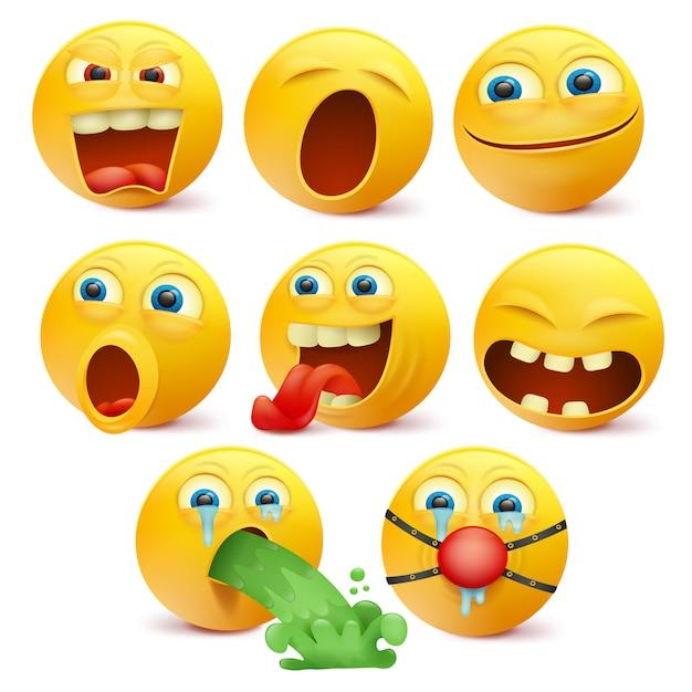 Set van gele emoji-personages met verschillende emoties. Premium Vector