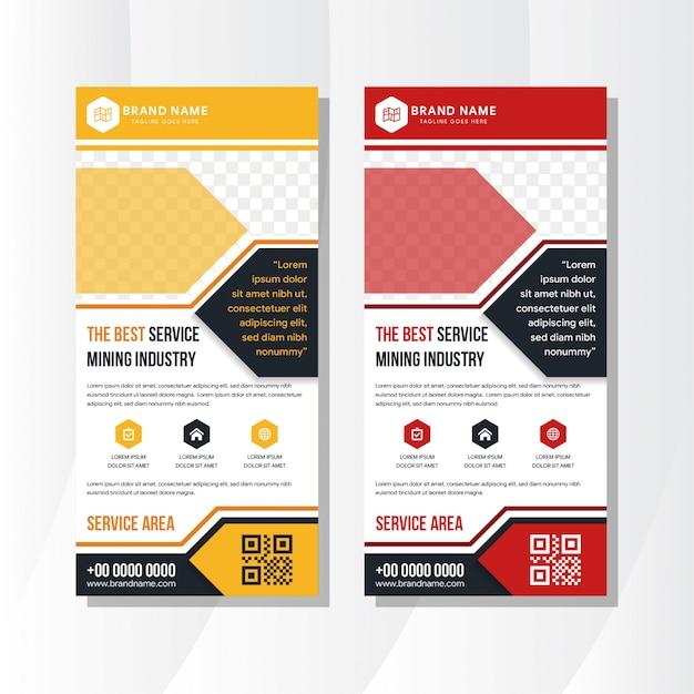Set van gele en rode samenvouwen zakelijke banner ontwerp gebruiken verticale lay-out. moderne publicatiedisplay gebruik ruimte voor foto. Premium Vector