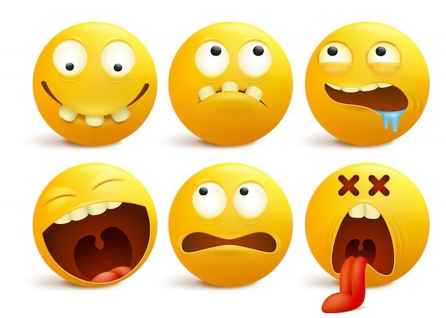 Set van gele smileygezicht emoticon stripfiguren. Premium Vector
