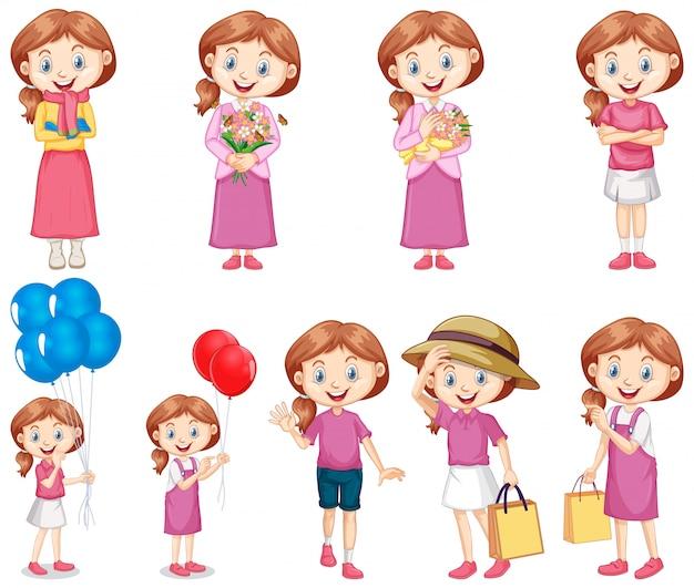 Set van gelukkig meisje in roze verschillende activiteiten doen Gratis Vector