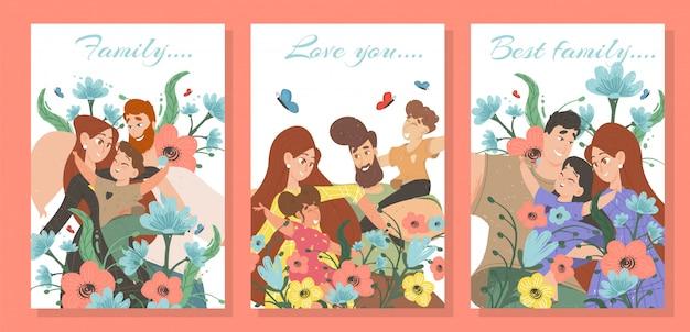 Set van gelukkige familie kaarten Premium Vector