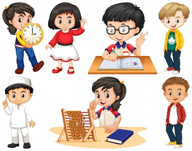 Set van gelukkige kinderen die verschillende dingen doen Gratis Vector