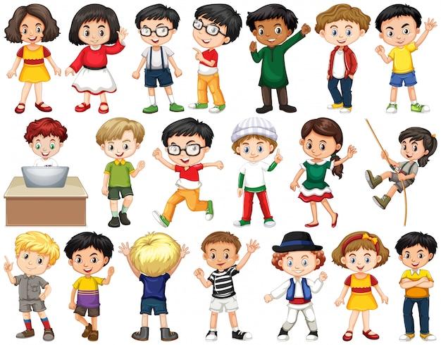 Set van gelukkige kinderen groet Gratis Vector