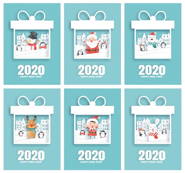 Set van gelukkige nieuwe jaar 2020-kaarten met santa en vrienden in papier gesneden stijl Premium Vector