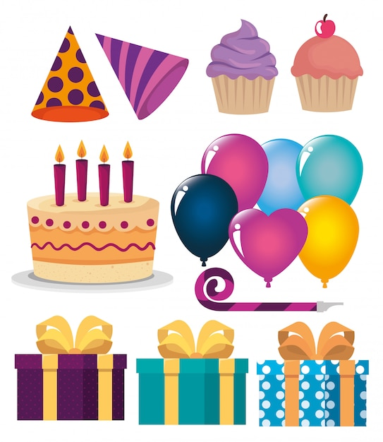 Set van gelukkige verjaardag decoratie voor feestviering Gratis Vector