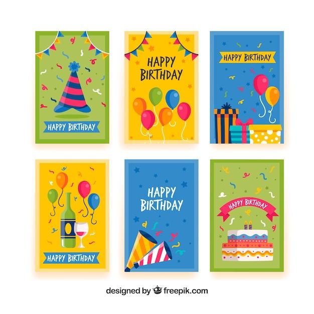 Set van gelukkige verjaardagskaarten in vlakke stijl Gratis Vector