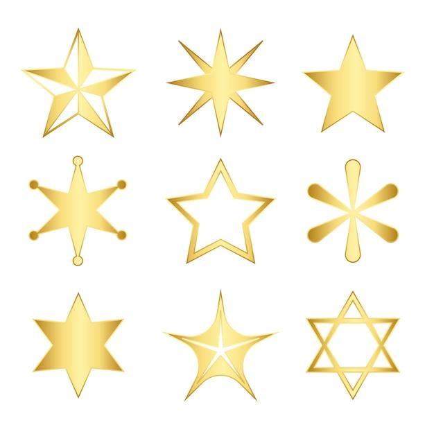 Set van gemengde sterren vector Gratis Vector