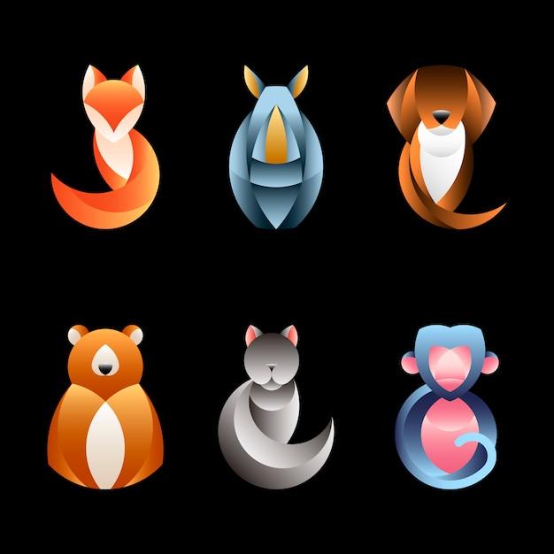 Set van geometrische dierlijke ontwerp vectoren Gratis Vector