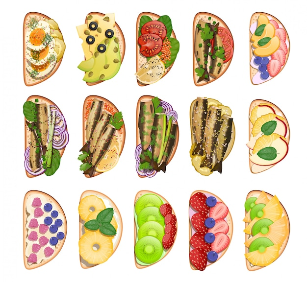 Set van geroosterde snacks broodjes Premium Vector