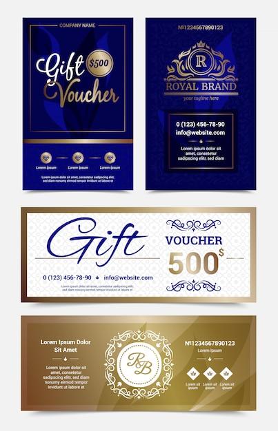 Set van geschenkbon ontwerp in goudblauwe kleuren met monogrammen Gratis Vector
