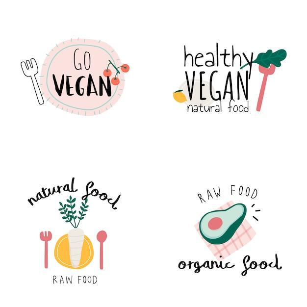 Set van gezonde veganistisch logo vectoren Gratis Vector