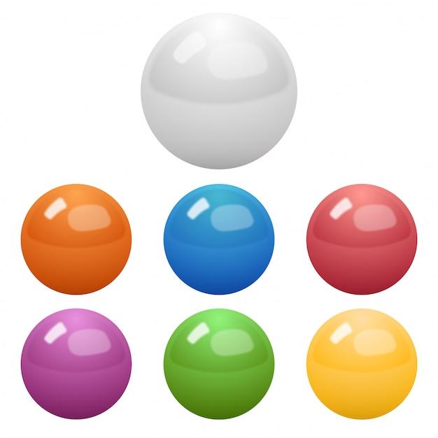 Set van glanzende gekleurde ballen Premium Vector