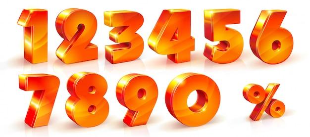 Set van glanzende oranje nummers Premium Vector