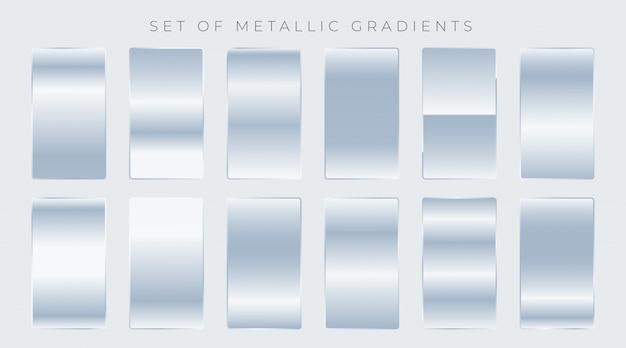 Set van glanzende zilveren hellingen Gratis Vector