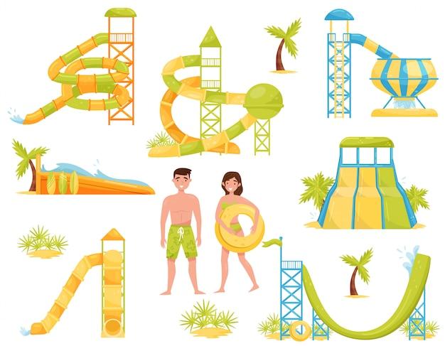 Set van glijbanen, surfen golfslagbad en mensen in zwemkleding. aqua park apparatuur. extreme attracties Premium Vector