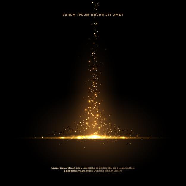 Set van glinsterende stof staarten in gouden stijl, gouden glitter abstracte achtergrond Premium Vector