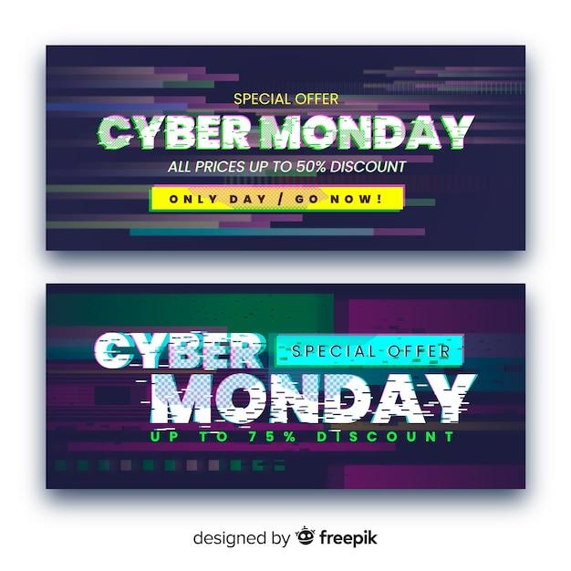 Set van glitch cyber maandag banners Gratis Vector