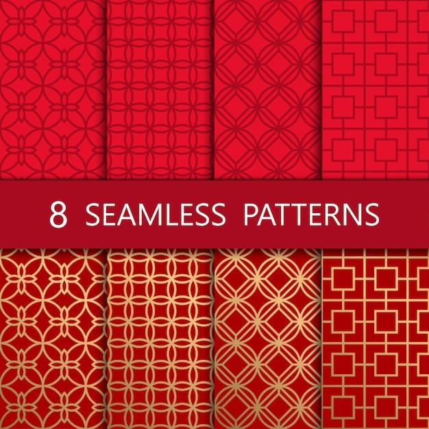 Set van gouden chinees naadloos patroon Premium Vector
