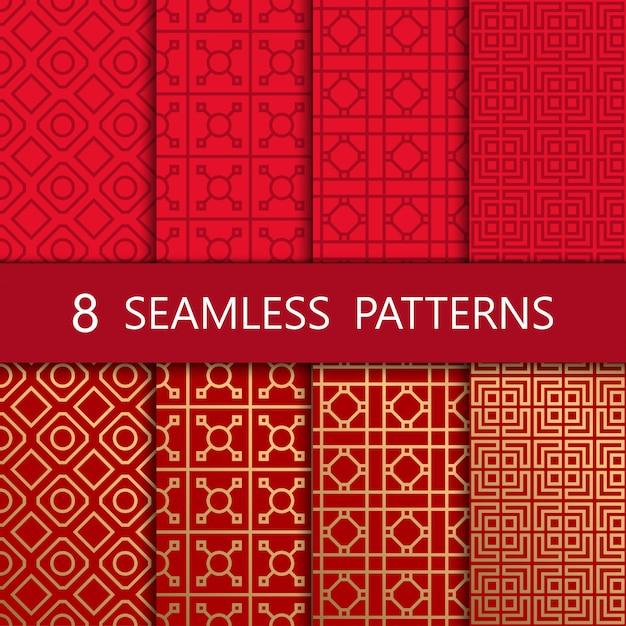 Set van gouden chinees naadloos patroon, Premium Vector