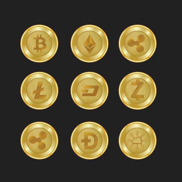 Set van gouden crypto valuta met gouden kleur Premium Vector