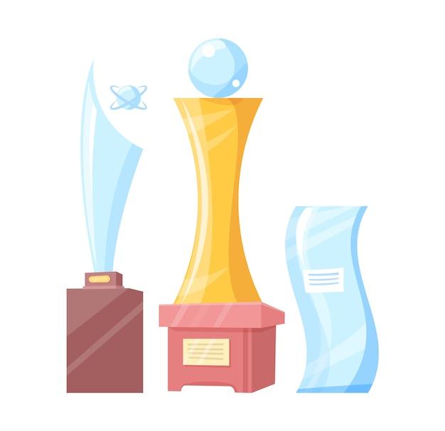 Set van gouden en glazen awards kleurrijke banner Premium Vector