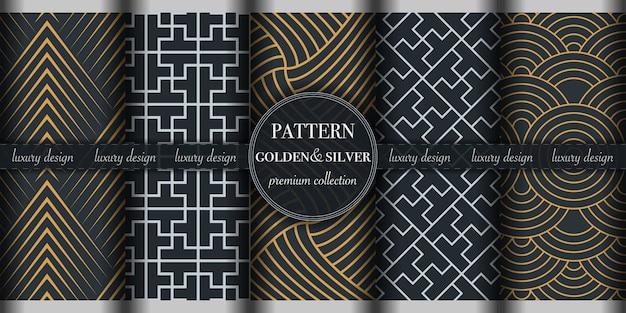 Set van gouden en zilveren abstracte geometrische naadloze patroon Premium Vector