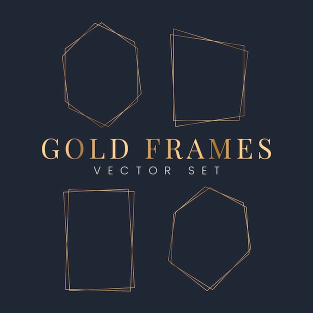 Set van gouden frame vectoren Gratis Vector