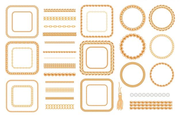 Set van gouden kettingen en touwen geïsoleerd op wit Premium Vector