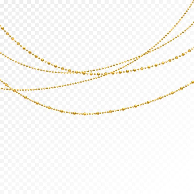 Set van gouden kralen en gouden kettingen. Premium Vector